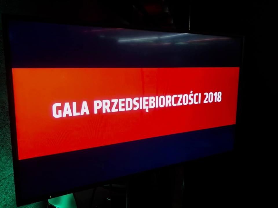 A notice of Gala Przedsiębiorczości 2018, on a screen of LED turbotron; C2C sp. z o.o.; c2c; www.ctoc.pl; Nagroda Gospodarcza Prezydenta Miasta Lublin; konkurs; Krzysztof Żuk; business class, vip; enterprise; foil production; polyethylene; innovative company; lubelskie; LCK; #lck; #C2C; #eZaopatrzenie