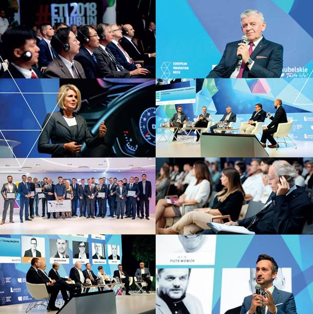 ctoc; eZaopatrzenie.pl; umwl; Sławomir Sosnowski; Radosław Brzózka; Mix of photos showing people discussing in front of LED display during ETI 2018 conference in Lublin. People in headphones listening during conference.