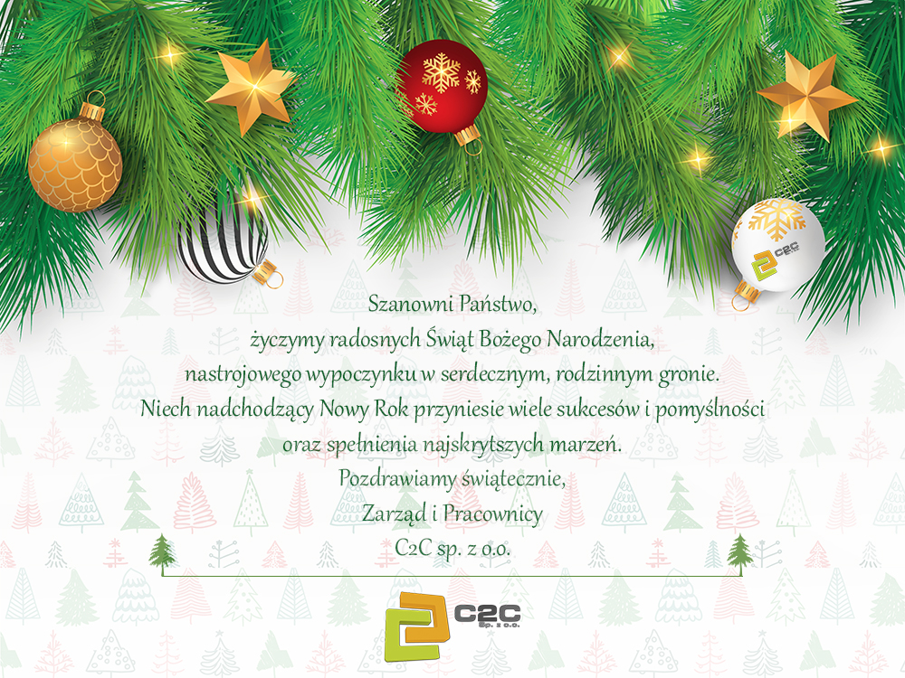 C2C sp. z o.o. Christmas wishes from company; glass balls, spruce branch with Christmas decoration