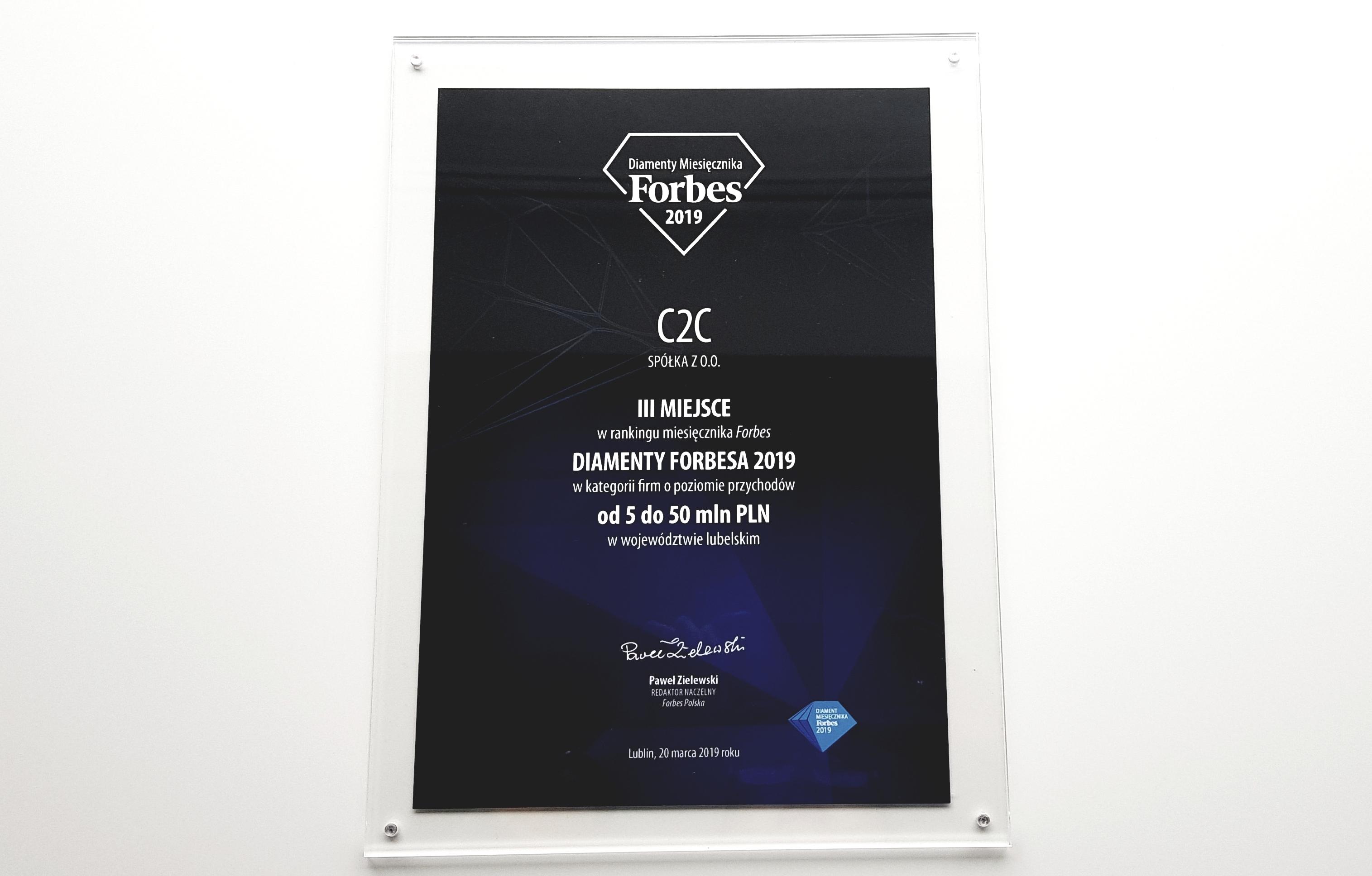The framed prize Forbes Diamonds 2019 for company C2C sp. z o. o. o.